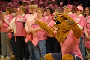 The Lion mascot joined breast-cancer survivors at halftime.