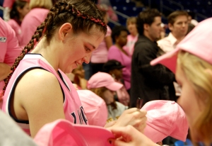 Brianne O'Rourke was one of a number of Lady Lions who stuck around to sign autographs after the game.
