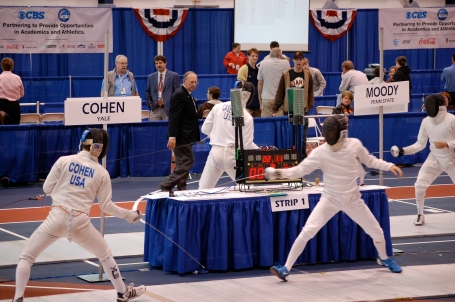 James Moody advances against his opponent. He finished 6th in epee.