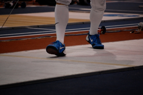 Chinman's blue Nikes. Fencing shoes look pretty cool.