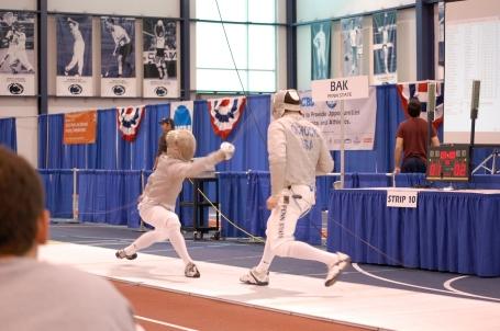 Penn State teammates Daniel Bak (left) and Aleksander Ochocki face off in an all-Penn State semifinal bout..