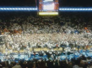 The students rush the court (Blurry photo courtesy of my cell phone)