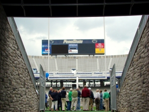 Alums got a chance to walk out on the field, too. Many had their pictures taken under the goalpost with a Standup Joepa.