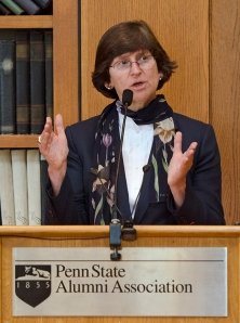 Nan Crouter, chair of the Presidential Search and Screen Committee, addressed Alumni Council on Friday.