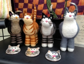 Needle-felted cats—what's not to like? The artist is Linda Doucette.