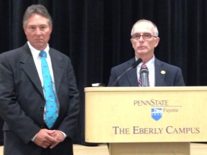 New vice chair Paul Silvis, left, and chair Keith Masser meet the media after Friday's meeting.