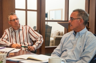 Matt Carcieri (left) and Jim Stengel in the Hintz Family Alumni Center yesterday.