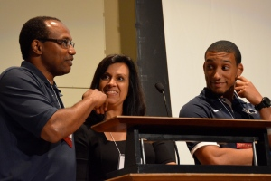 The Warner family at the podium, as captured by Trish Hummer of Penn State Outreach.