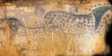 A prehistoric mural from the Pech Merle cave in France. Photo by Dean Snow.