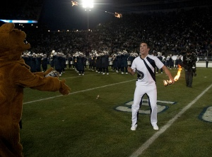 Matt Freeman twirled fire in his final Beaver Stadium performance. (Penn State News photo.)