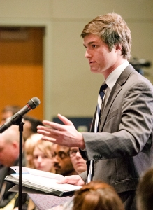 Student Anthony Panichelli addresses the board during the public comment session.