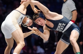 Nico Megaludis, ranked No. 3 nationally at 125, was a 4-1 winner. (Penn Stater photo)
