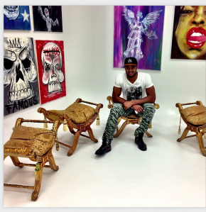 Aaron Maybin linked this Intagram photo of his Art Basel exhibit on his Twitter account, @AaronMMaybin.