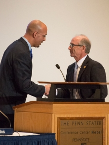 Also at today's BOT meeting: new football coach James Franklin stopped by; here, he's welcomed by board chair Keith Masser.