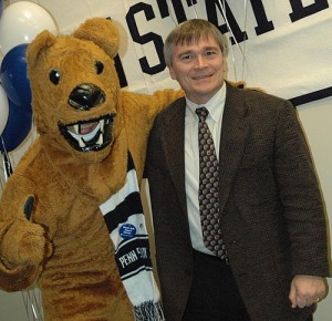 Here's a photo of Barron, then dean of the College of Earth and Mineral Sciences, hanging out with the Nittany Lion.