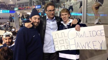 ESPN's John Buccigross buddies up with some Penn State hockey fans at last week's game.