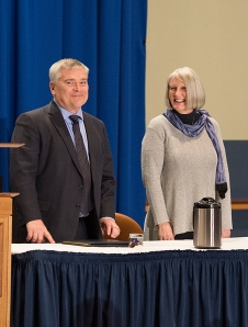 President-elect Eric Barron and his wife, Molly, are introduced at Monday's special Board of Trustees meeting.