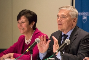 Barron and Karen Peetz, chair of the Trustee Presidential Selection Council, answer questions at Monday's news conference.