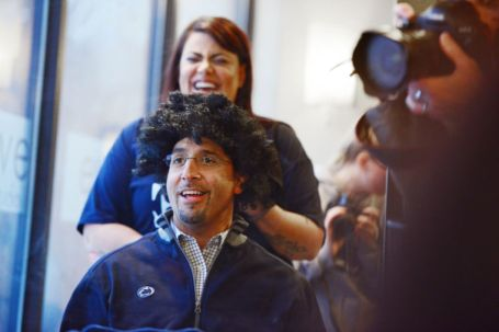 James Franklin debuts a short-lived new look at yesterday's THON fundraiser. Photo by Kelly Tunney/Collegian