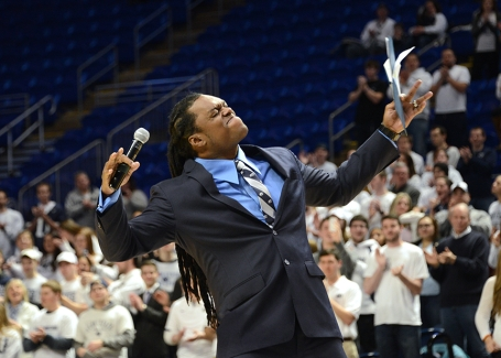 LaVar Arrington works the crowd at yesterday's Signing Day event at the BJC. Photo by Curtis Chan.