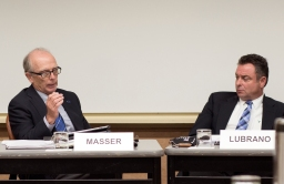 Trustee chair Keith Masser and trustee Anthony Lubrano at yesterday's governance committee meeting.
