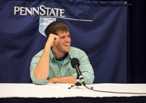 HONY founder Brandon Stanton at an Eisenhower Auditorium news conference. (photo by Tina Hay)