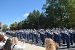 The Blue Band blocks traffic on Curtin Road.