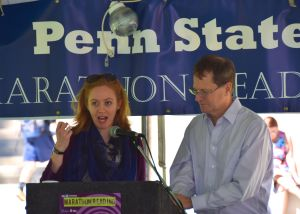 Grad student Katherine Anderson & English department head Mark Morrisson