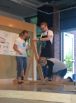 "Hard at work in the ""Sketching with Wood"" exhibition at Stuckeman."