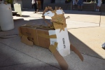 A not-very-ferocious cardboard lion, part of the community sculpture in front of the Palmer.