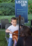 In front of Borland Building, music students offered lessons to anyone interested in trying their hand...