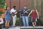 Among the performances in front of the Pavilion Theatre, this trio covered Stevie Wonder—accompanied by a tap dancer.
