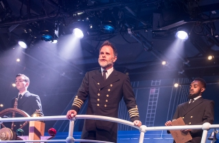 SHIP'S CREW: From left, musical theatre major Benjamin Nissen as Second Officer Lightoller, School of Theatre faculty member Ted Christopher as Captain Smith, and musical theatre student Khaleel Mandel as First Officer Murdoch.