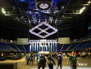 The Bryce Jordan Center stage being built and lit prior to the Penn State Dance Marathon.