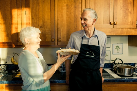Herr and his wife, Mary, served up coconut cream pie to the magazine staff.